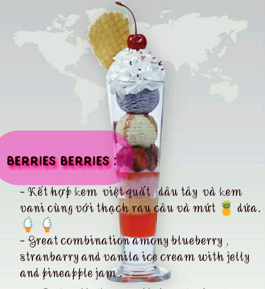 Trang trí ly kem kiểu Berries Berries