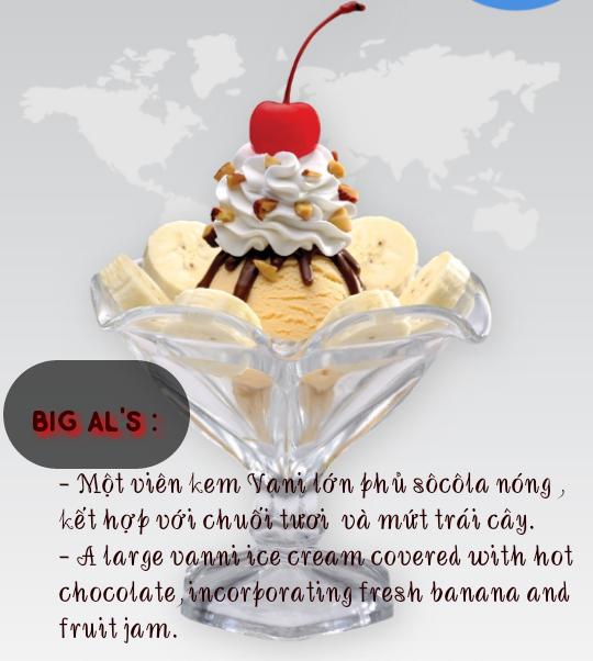 Trang trí ly kem kiểu Big Al's